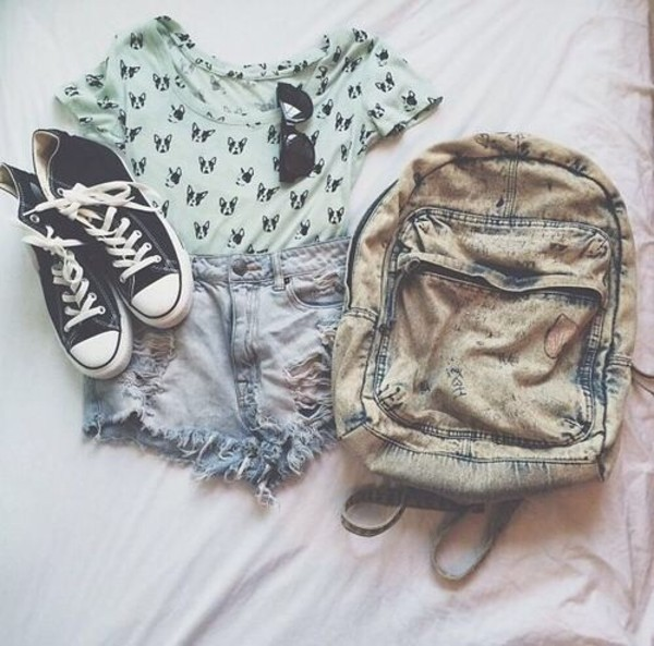 shirt shorts dog shirt bag bleached backpack grunge streetstyle sunglasses shoes converse mint denim dog green denim backpack cat print shirt sunnies jeans distressed denim shorts ripped shorts t-shirt