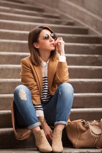 lovely pepa blogger shirt shoes bag jeans coat sunglasses jewels