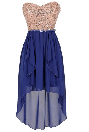 Lily Boutique Moon and Stars Gold and Blue Belted Sequin High Low Dress Lily Boutique