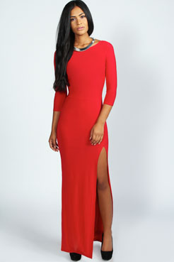 Candice Side Split Slinky Maxi Dress at boohoo.com