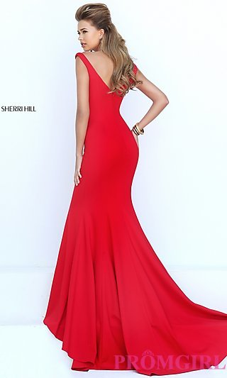 Floor Length Red Sleeveless Dress by Sherri Hill