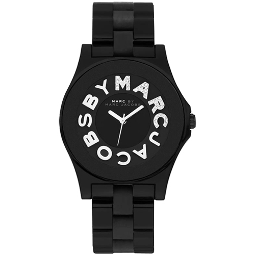 New Marc Jacobs Black Acrylic and Silicone Rivera Crystals Watch MBM8565 | eBay