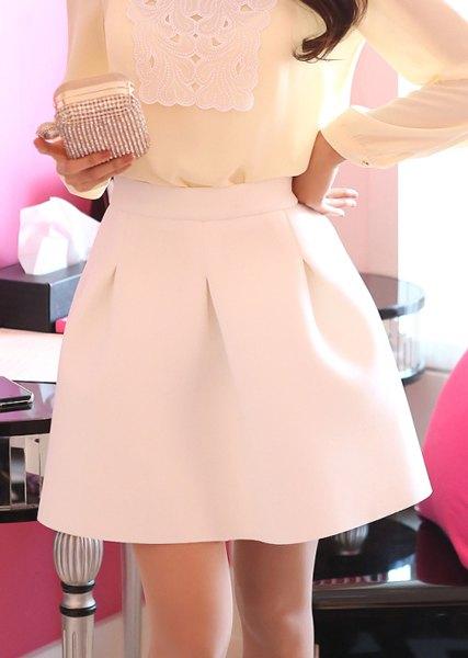 Line elegant skirt for women (white,m)