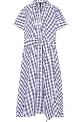 dress shirt dress cotton gingham blue