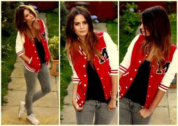 YESSTYLE: D.P-Shop- 'M' Baseball Jacket (Red - One Size) - Free ...