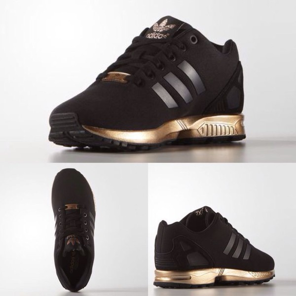 Adidas Zx Flux Black And Gold On Feet