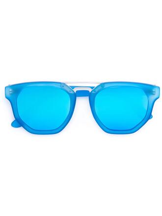 women plastic sunglasses blue