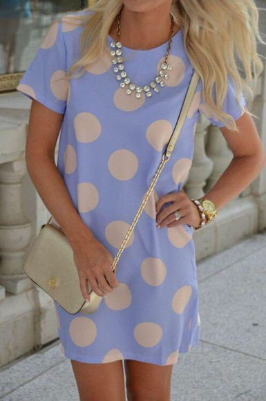 polka dots dress blue dress cute dress