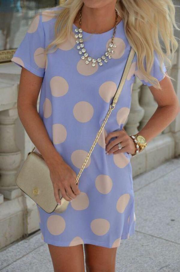 dress polka dots blue dress cute dress polka dots
