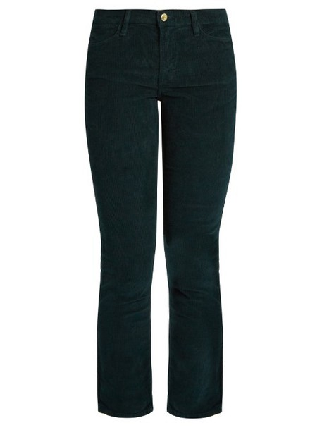 FRAME Le High straight-leg corduroy trousers in green