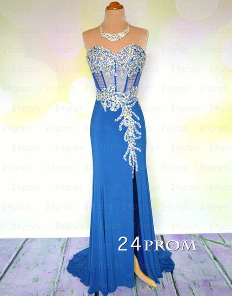 Blue chiffon sweetheart long prom dress,formal dress