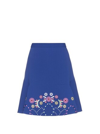 skirt mini skirt mini embroidered geometric blue