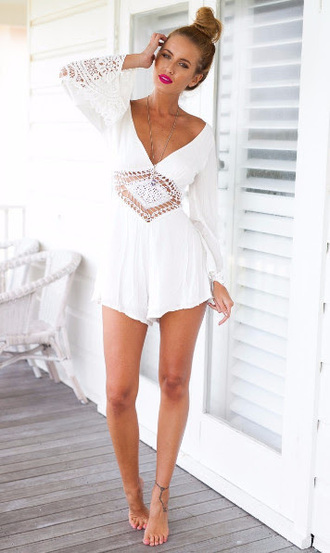 dress white white dress knitted dress crochet dress beach dress beach boho boho dress bohemian boho chic lace dress lace long sleeves long sleeve dress romper lace romper white lace romper short dress