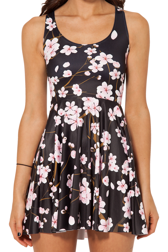 Cherry blossom black skater dress – glamzelle