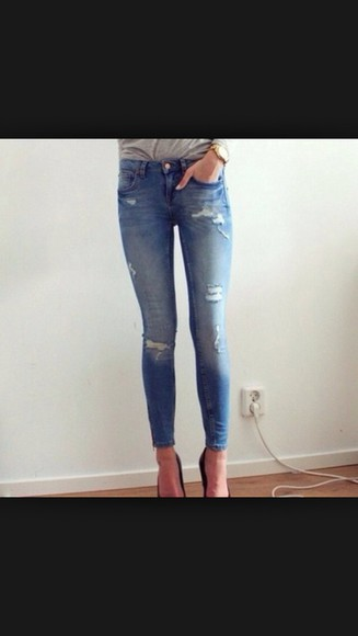jeans distressed jeans ripped jeans cute blue skinny jeans skinny jeans