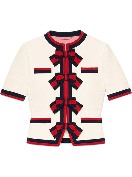 gucci jacket wool jacket bows women white silk wool