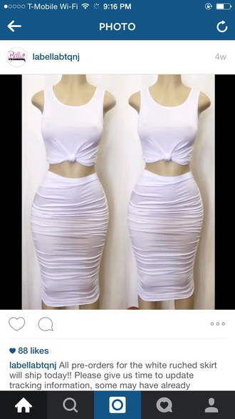 skirt white top two-piece kim kardashian style bodycon tie-front top