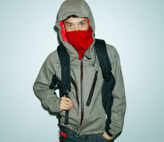 jacket grey red fall outfits zip-up hood
