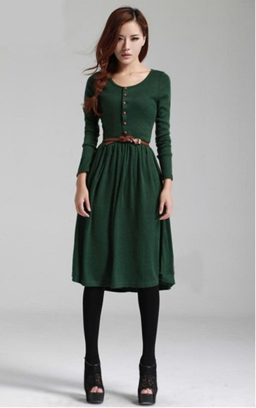 dress green long sleeve dress green dress forest green belted dress beauty fashion shopping corean dress