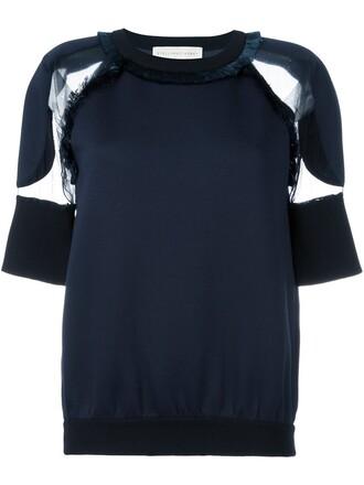 blouse transparent blue top