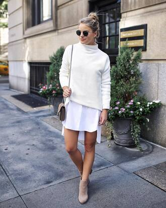 sweater white sweater shirtdress white shirtdress handbag brown handbag sunglasses black sunglasses shoes beige shoes dress bag