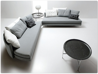 home accessory round sofa canapé grey white design