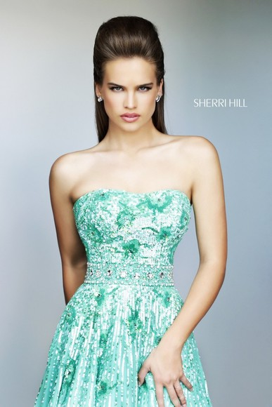 dress green dress prom dress sherri hill