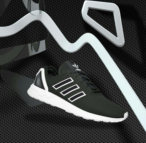 3939133b00276c shoes adidas adidas shoes adidas zx adidas zx flux black white black and  white black shoes