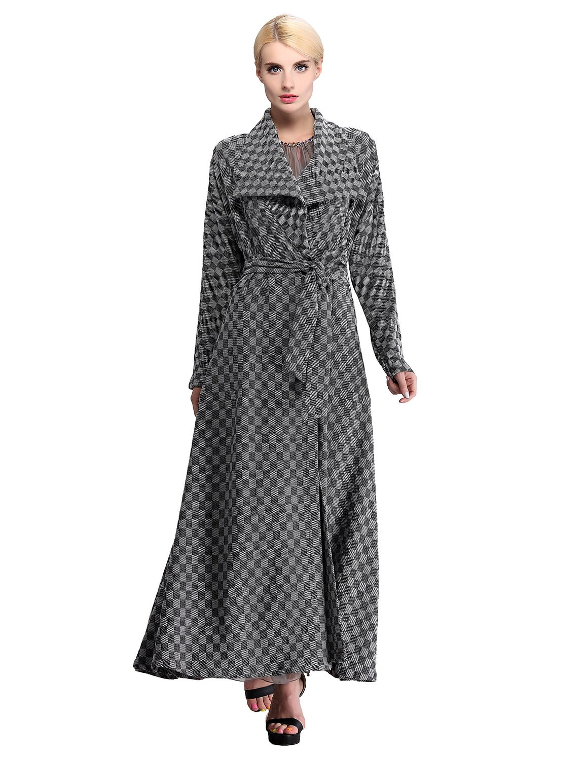 Amazon.com: Yacun Women's Elegant Knitted Maxi Dust Coat: Clothing
