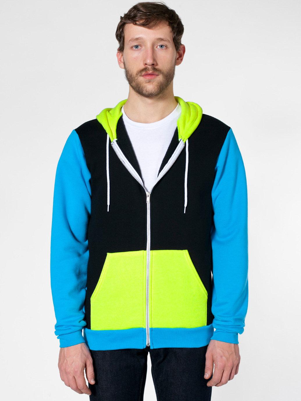 Flex Fleece Color Block Zip Hoodie | American Apparel