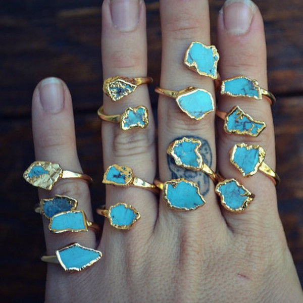 jewels ring gold turquoise jewelry jeans blue teal hippie boho chic rings and tings gold ring