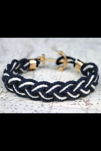 jewels anchor bracelet black and white cute bracelet blue anchor bracelets sailor summer like anker white