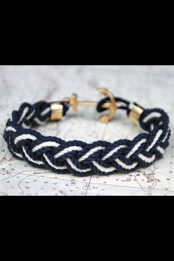 jewels anchor bracelet black and white cute bracelet