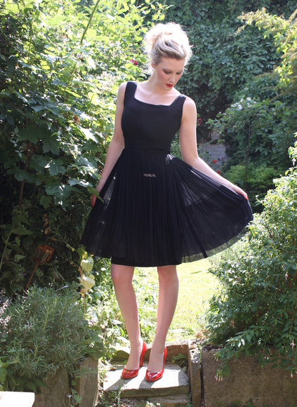 1950s dress vintage mad men chiffon little black dress evening prom little black dress