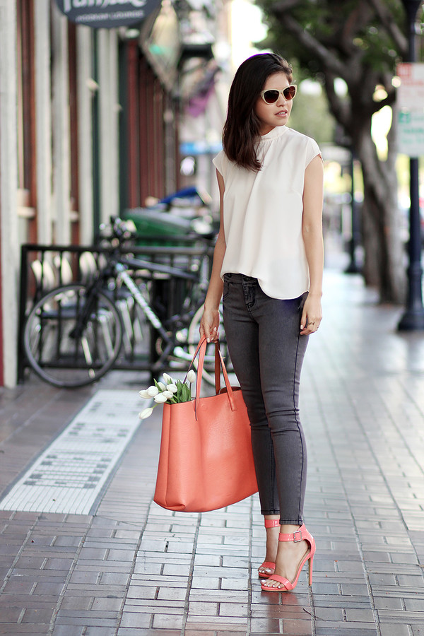 fake leather blouse jeans shoes bag