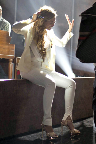 pants white beyonce shoes sandals