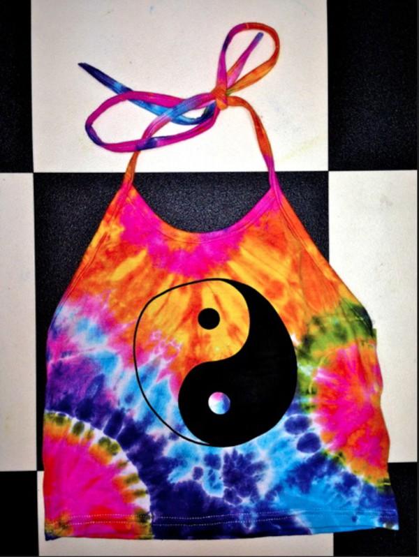 tank top halter top crop tops yin yang tie dye