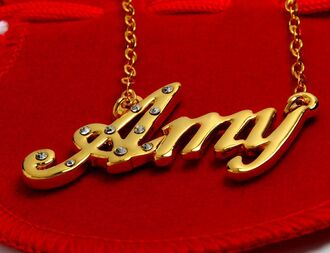 jewels gold name amy rhinestones necklace