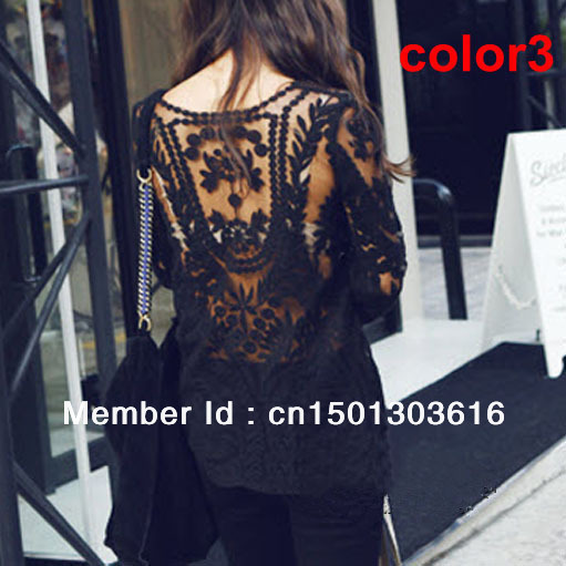 Black/white Dress Sweet Semi Sexy Sheer Long  Sleeve Embroidery Floral Lace XL Crochet Tee Top T shirt Vintage print dress-in Dresses from Apparel & Accessories on Aliexpress.com