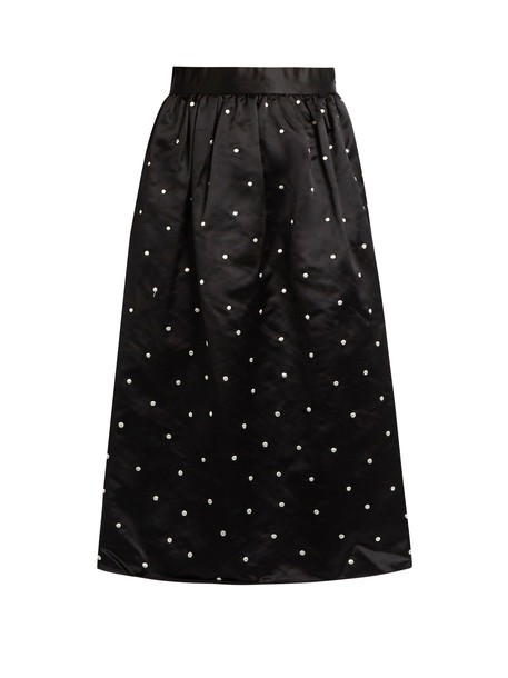 JUPE BY JACKIE skirt embroidered satin black