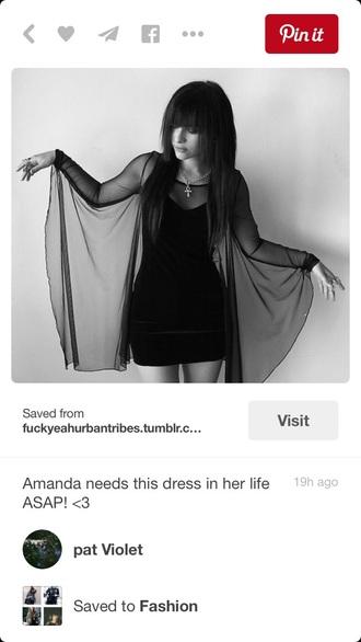 dress pretty beautiful black dress black little black dress mesh see through mini dress grunge goth cute