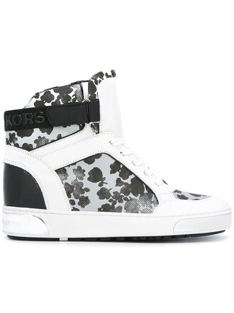 women sneakers floral leather white cotton shoes