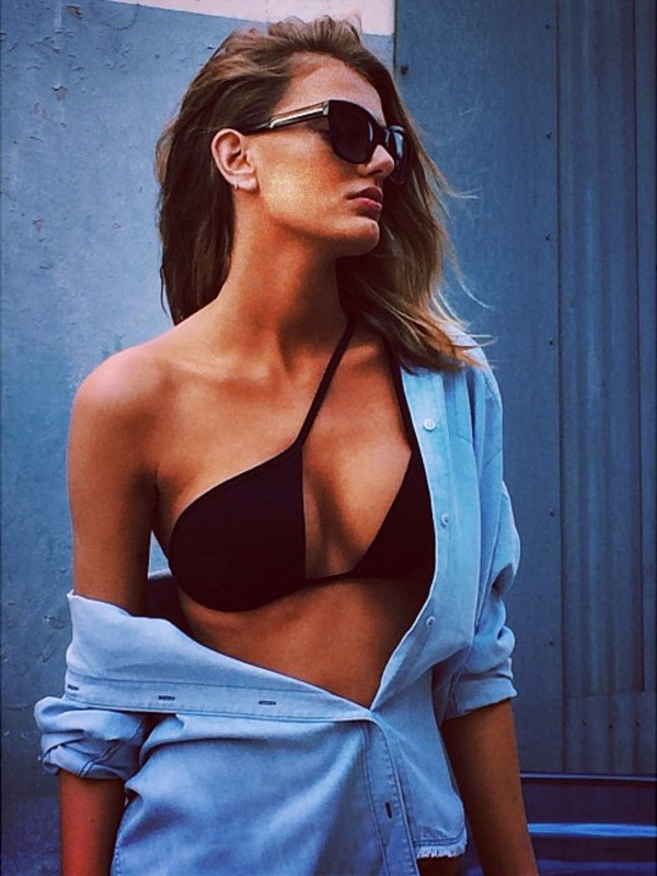 swimwear twisted halter bikini bikini black bikini shirt blouse jeans sunglasses summer black top black crossover top crop tops bikini top hot summer top sexy criss cross v neck denim one shoulder