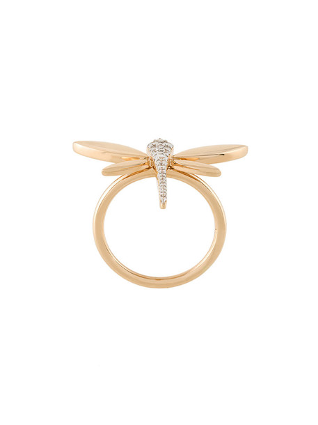 Anapsara diamond ring rose gold rose women dragonfly ring gold yellow orange jewels