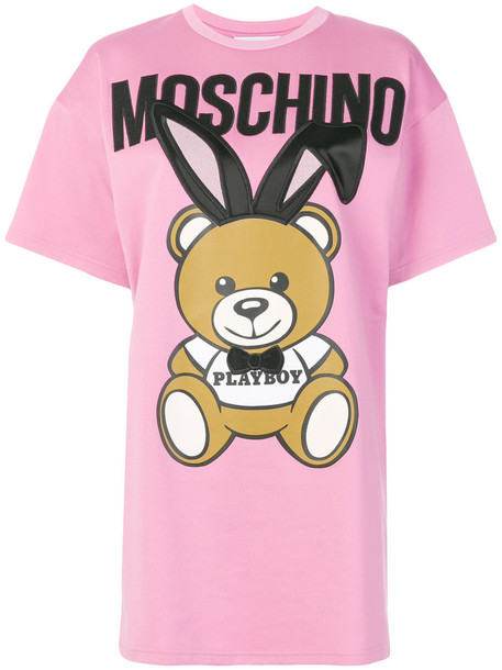 Moschino dress shirt dress t-shirt dress women cotton print purple pink
