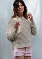 hanneli,beige sweater,sweater