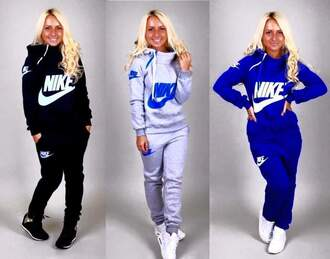 pants blue grey white nike hot jumpsuit sweater