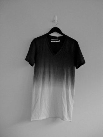 t-shirt vneck tees ombre gradient black black and white