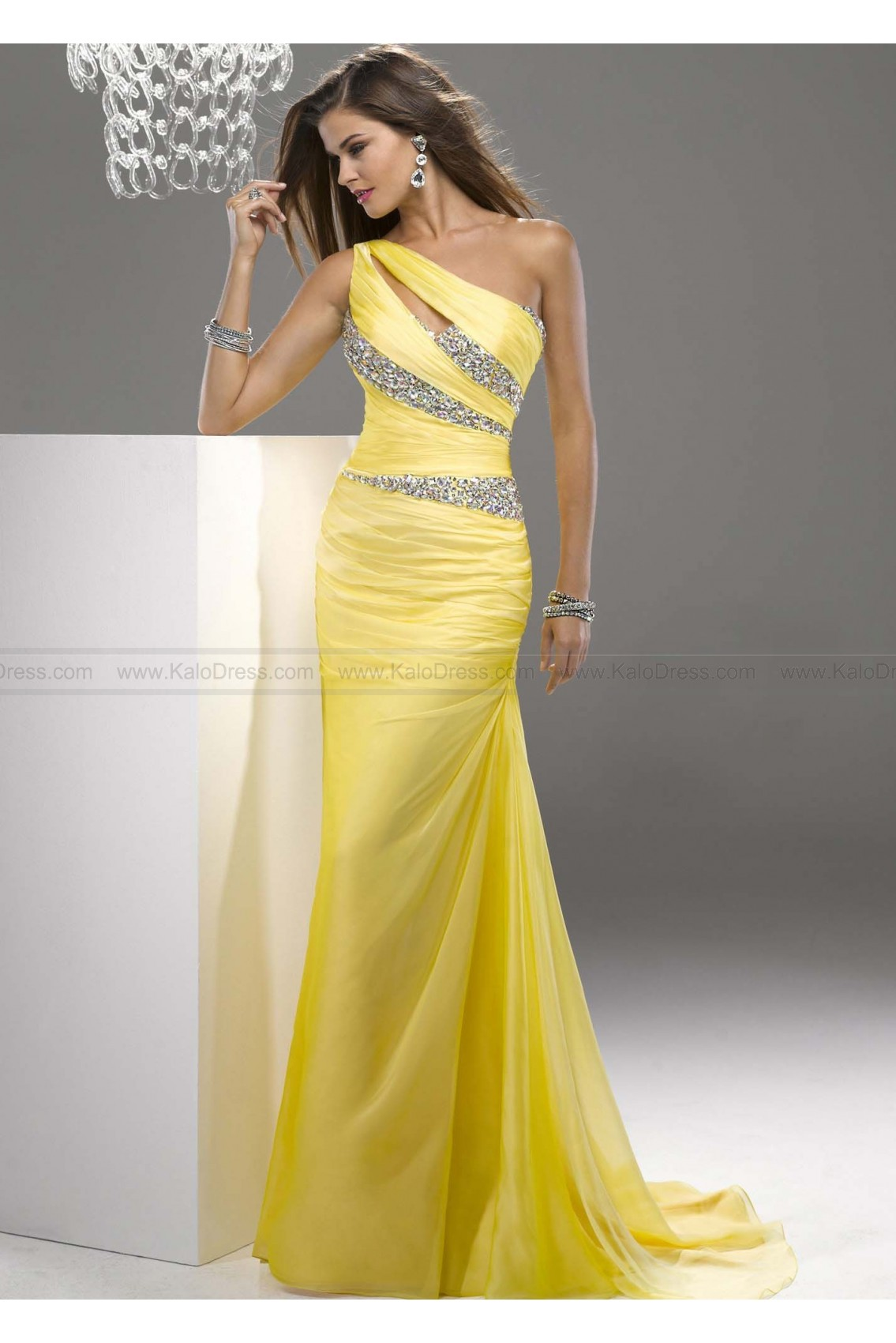 Sheath/Column One-shoulder Sweep Train Chiffon Prom Dresses - Wedding Party Dresses