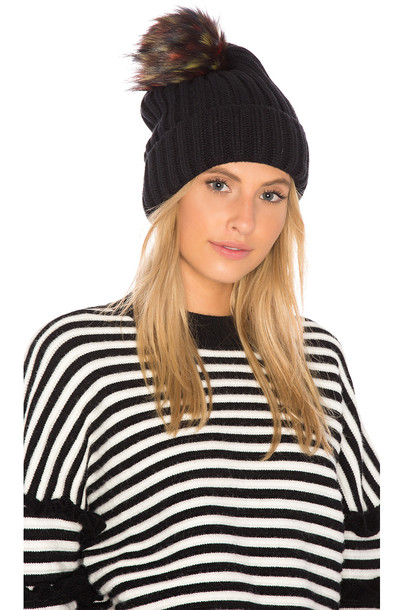 Hat Attack fur faux fur beanie black hat